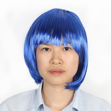 Ladies Short Cut Straight Hairpiece Flat Bangs Hair Play Costume Wig Dark Blue - image 1 de 2