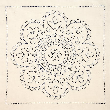Sashiko World Hungary Stamped Embroidery Kit-Rose Medallion