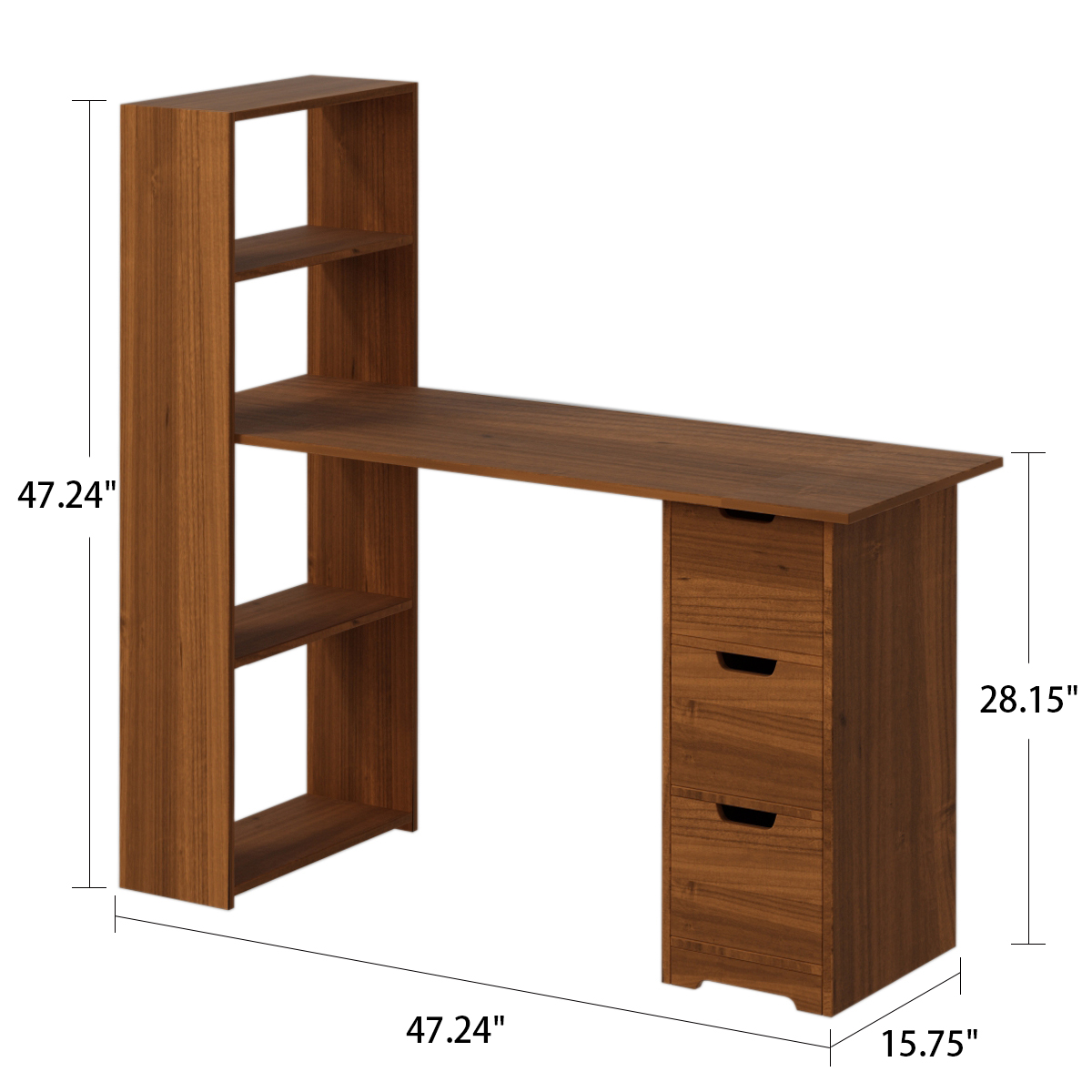 Wood Frame Computer Desk With Hutch And Bookshelf Heavy Duty Wooden Sturdy Office Desk With Storage Shelves For Home Office Natural Walmart Com Walmart Com