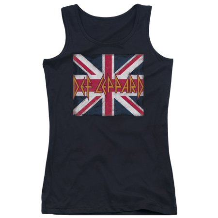 Def Leppard 80s Heavy Metal Band Union Jack Logo Juniors Tank Top Shirt - 80s Heavy Metal