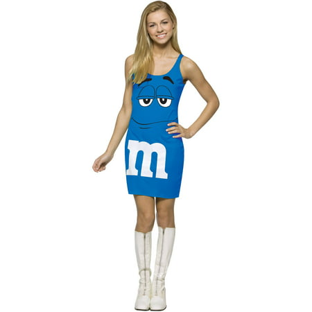 Blue M&M's Tank Dress Teen Halloween Costume, One Size, (13-16) - Mm Costumes