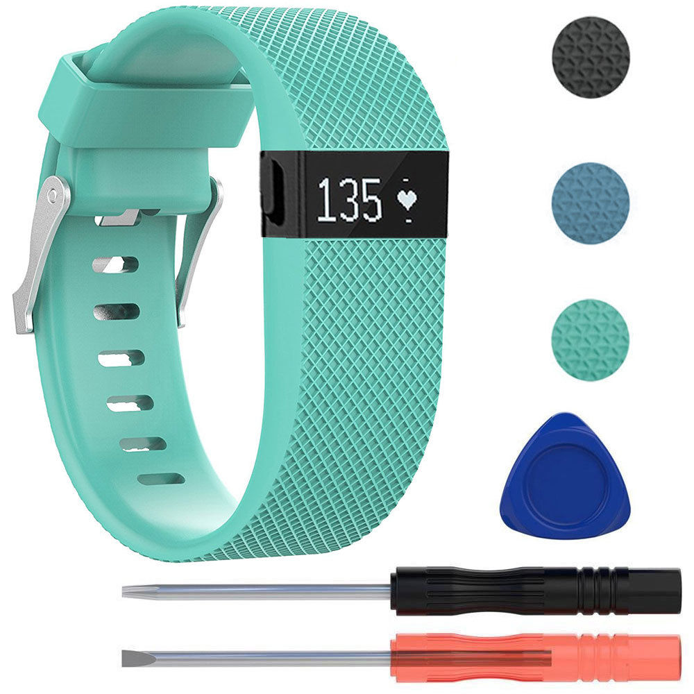 Replacement Silicone WristBand Strap Bracelet w/Tool for Fitbit Charge HR Large (Slate Blue)