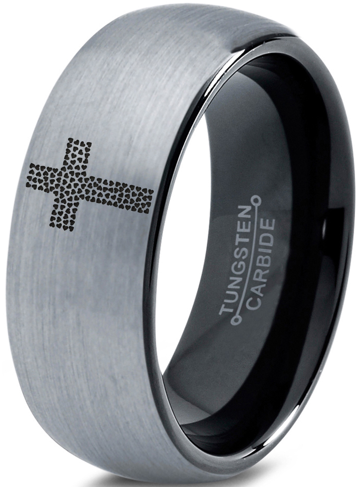 Designed For Maximum Comfort Fit For Men And Women Use Size 11.5 Wedding Band And Anniversary Ring Silver Tungsten Carbide Faith Hope And Love Ring 8mm