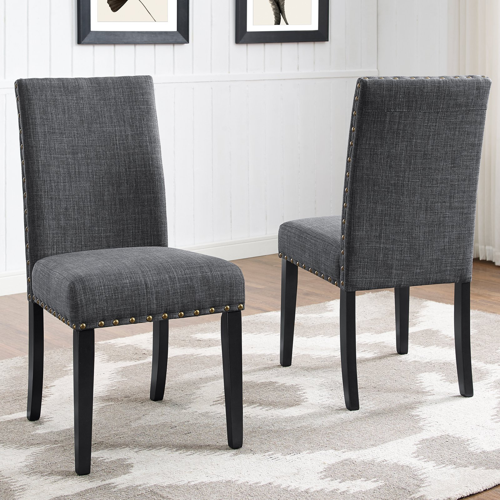 Incroyable Roundhill Furniture Biony Fabric Nail Head Dining Chair Set Of 2, Gray