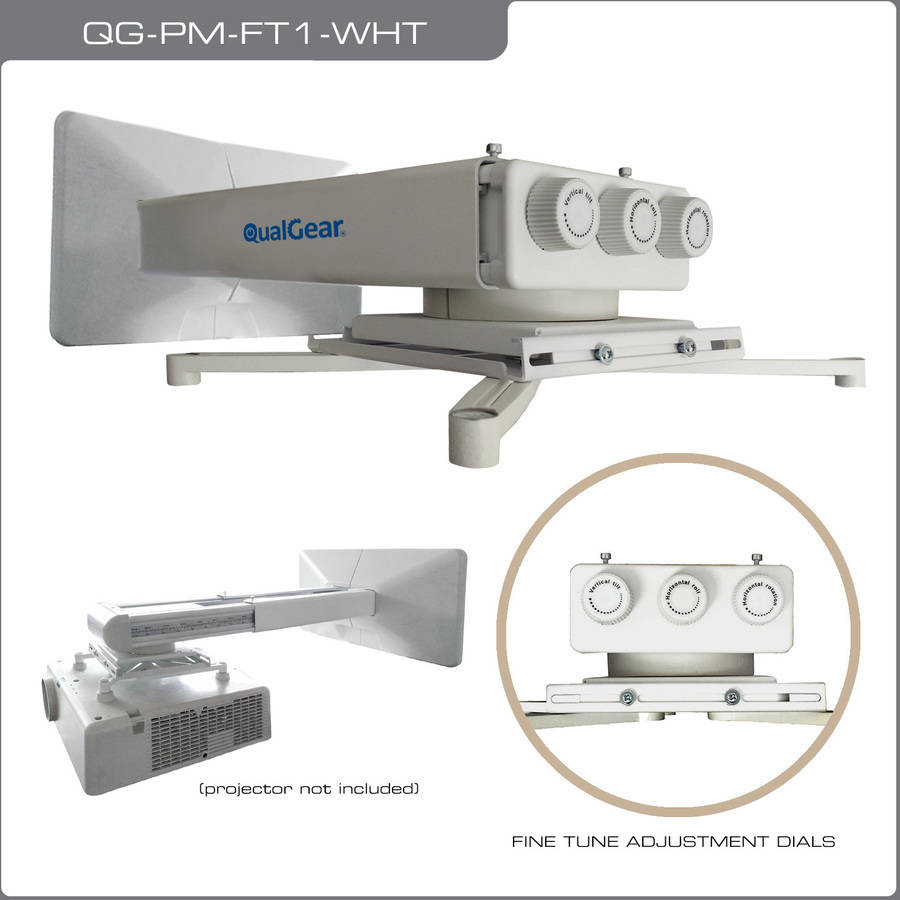 qualgear qgpmft1wht universal projector wall mount with fine tune adjustments - Projector Wall Mount