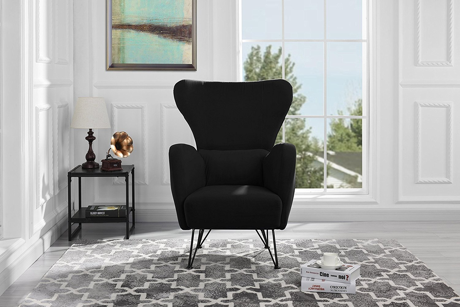 Mid-Century Modern Velvet Accent Armchair with Shelter Style Living Room Chair (Black) by Sofamania