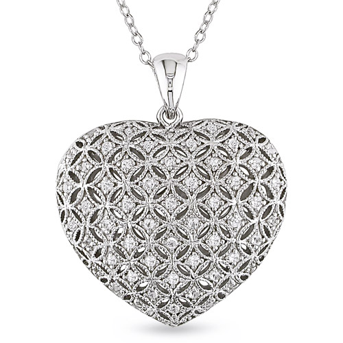 1/2 Carat T.G.W. Created White Sapphire Heart Pendant in Sterling Silver, 18""