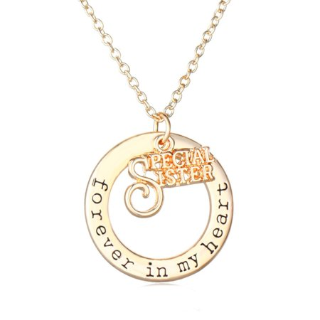 Special Sister Love Necklace Goldtone Forever in My Heart Anti-Tarnish pendant,Jew-320-G