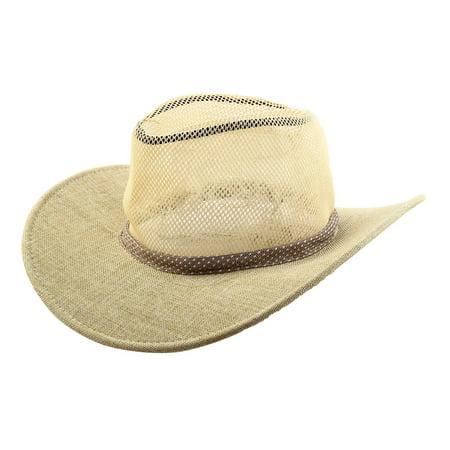Linen Wide Brim Western Style Beach Mesh Cap Net Sunhat Cowboy Hat -  Walmart.com 7136d44c0bd