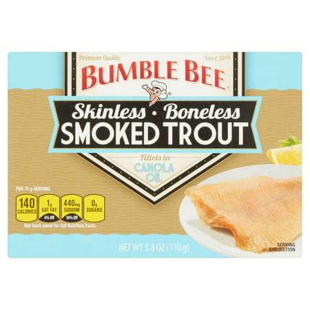 - (2 Pack) Bumble Bee Smoked Trout Fillets in Canola Oil, Canned Food, Canned Trout, Gluten Free Snacks, High Protein Snacks, 3.8oz can
