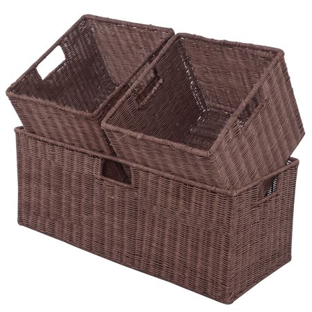 GHP 1-Pc Large & 2-Pcs Small Steel Frame Rattan Wicker Storage Baskets with Handles](Wicker Storage Basket)