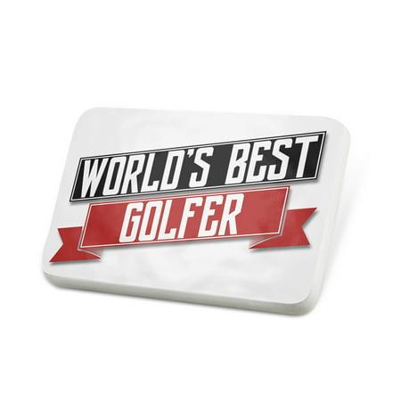 Porcelein Pin Worlds Best Golfer Lapel Badge – (Golfer Pin)