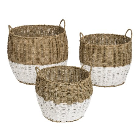 Mainstays Set of 3 Round Nesting Seagrass 2-Color Baskets with Handles, Natural & White