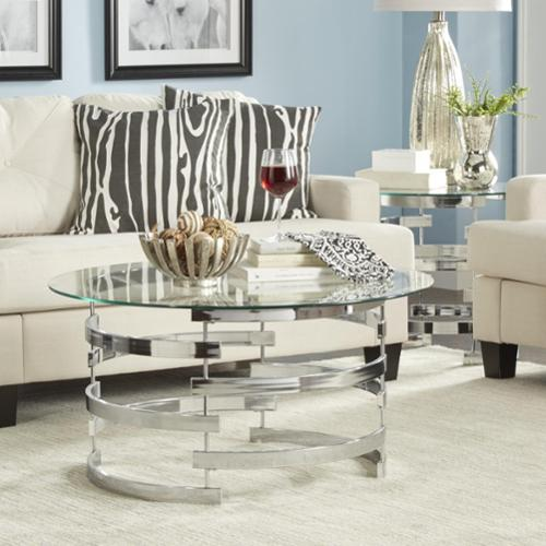 INSPIRE Q Nova Round Glass Top Vortex Iron Base Accent Table by Bold by Overstock