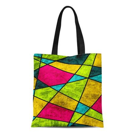 NUDECOR Canvas Tote Bag Pink Turquoise Color Glass Abstract Geometric Green Reusable Handbag Shoulder Grocery Shopping Bags - image 1 of 1