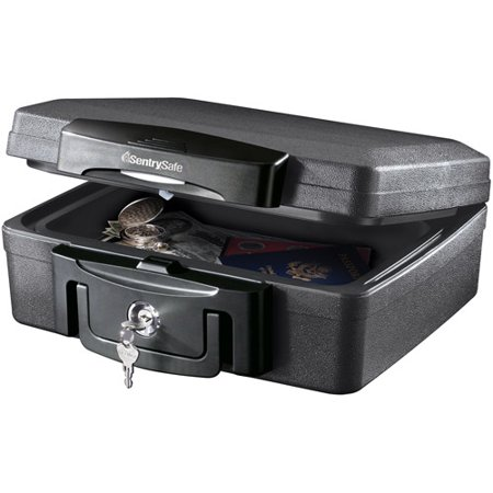 Fire/Water Key Lock Chest Safe Black Plastic - SentrySafe