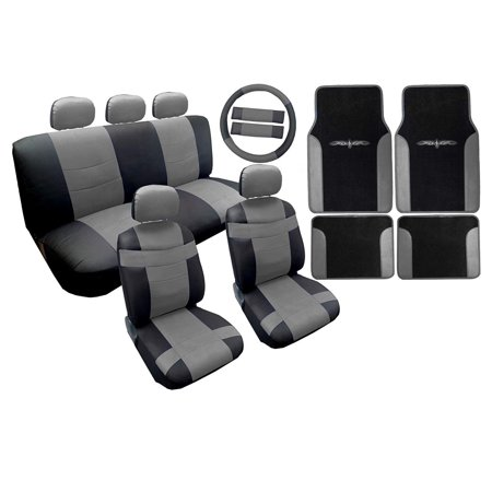 Toyota Avalon Set - Two Tone Premium Synthetic PU Faux Leather Seat Cover Set Black and Gray with Matching Tribal Floor Mats 18pc For Toyota Camry