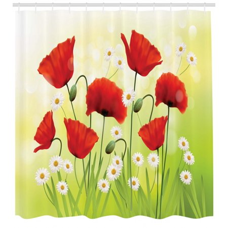 Poppy Shower Curtain Spring Environment With Poppies And Daisies On Grass Flourishing Nature Illustration Fabric Bathroom Set Hooks Red Green
