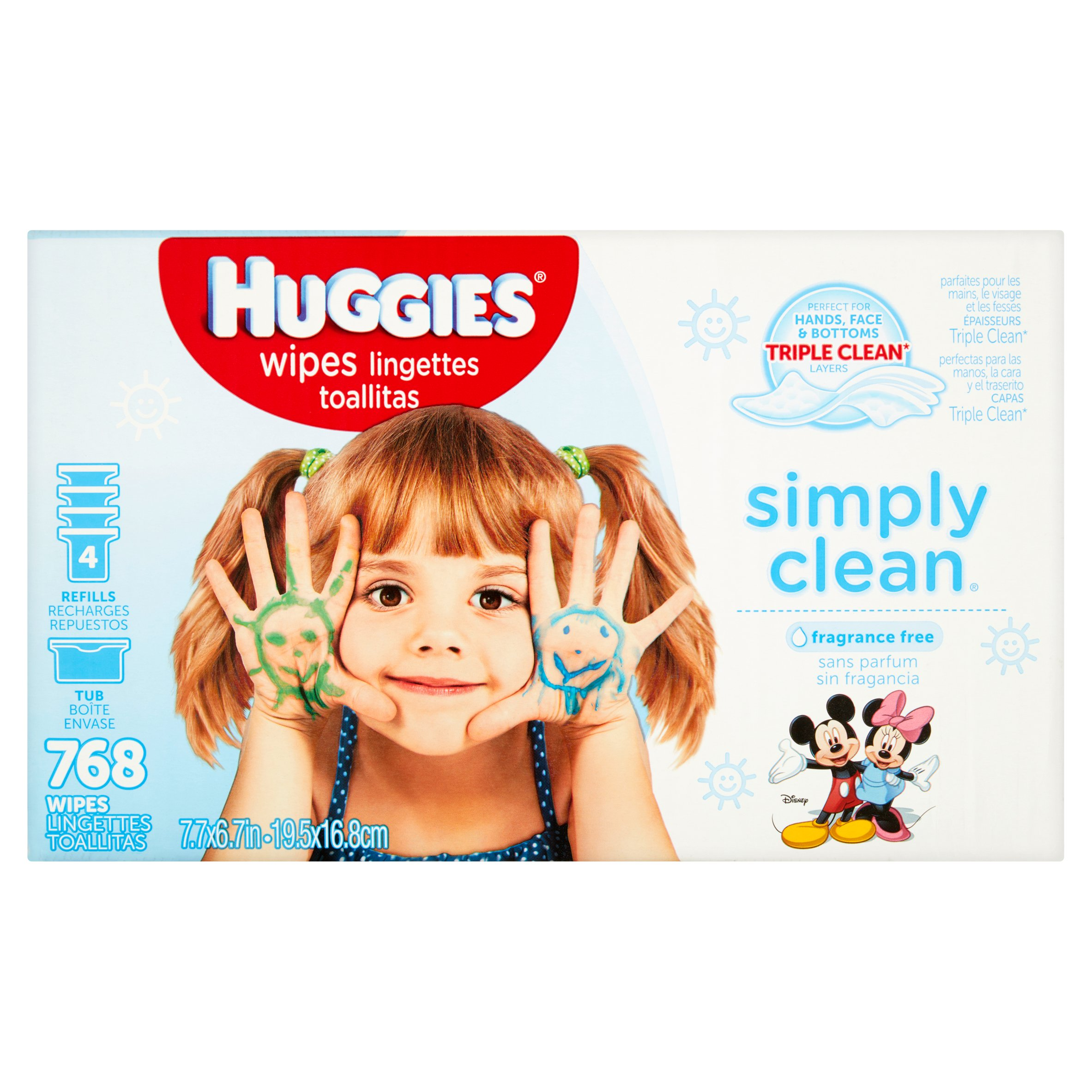 Huggies Simply Clean Baby Wipes, Unscented, Pop-Up Tub + 4 Refills (768 count)