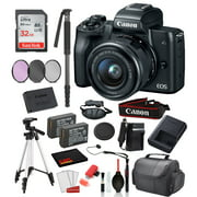 """Canon EOS M50 Mirrorless Digital Camera with 15-45mm Lens  (Black) 18PC Professional Package Bundle  SanDisk 32gb SD + Replacement Battery LPE12 (2CT) + 57""""  Tripod + MORE"""