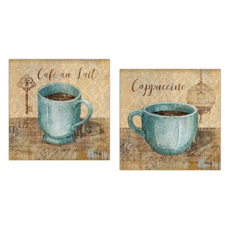 Popular Classic Coffee Key and Bird Cage Cafe Au Lait and Cappuccino; Kitchen Decor; Two 12x12in Poster Prints. Teal/Brown