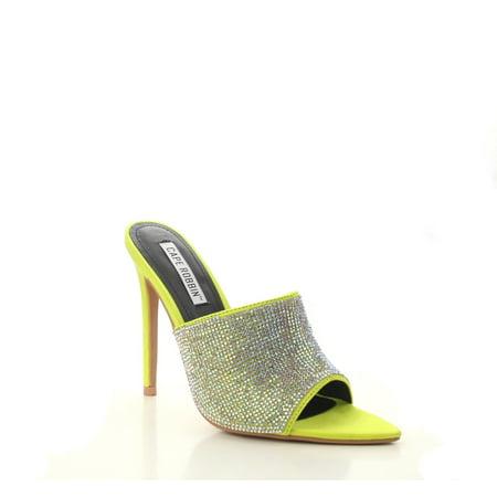 Lime Rhinestone (Cape Robbin TIFFANY LIME Rhinestone Slip-On Mules Pointy Open Toe Stiletto Heel (9) (7) )