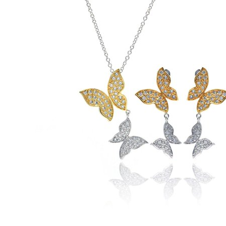 (Exquisite Sterling Silver Rhodium Gold Plated Clear Butterfly CZ Dangling Stud Earring Dangling Necklace Set)