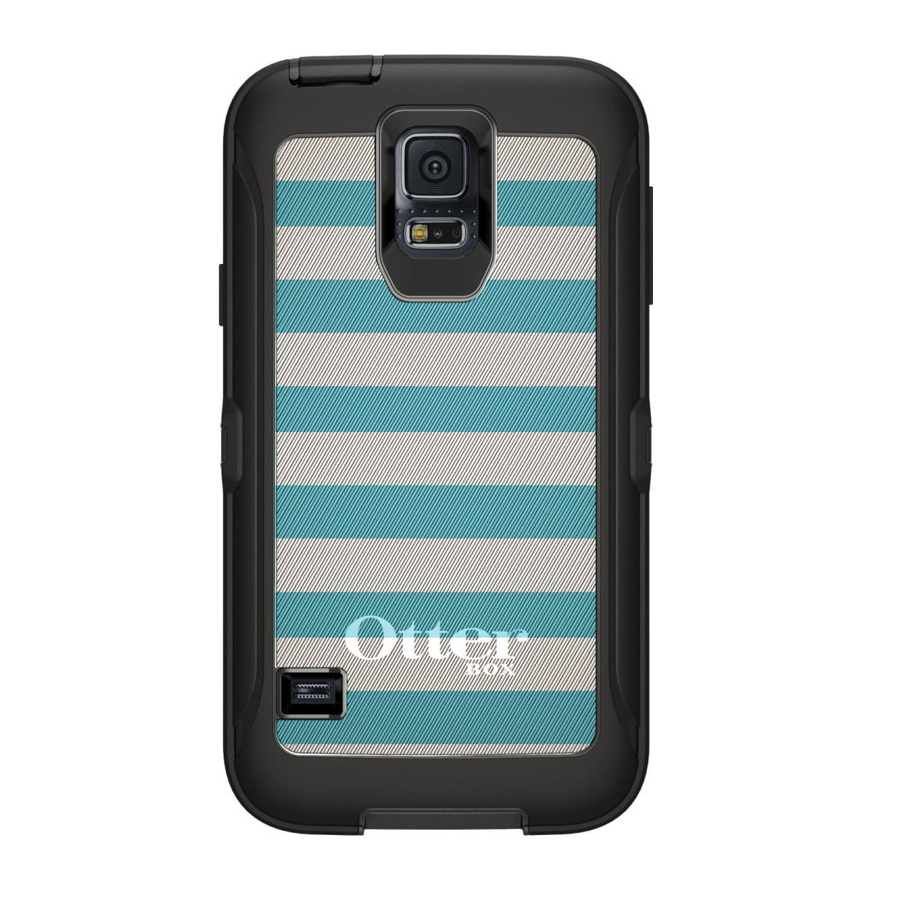 DistinctInk™ Custom Black OtterBox Defender Series Case for Samsung Galaxy S5 - Blue & White Bold Stripes