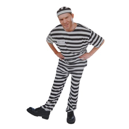 Convict Halloween Costume Mens (Mens In The Clink Convict Prisoner Halloween Costume Hat Top &)