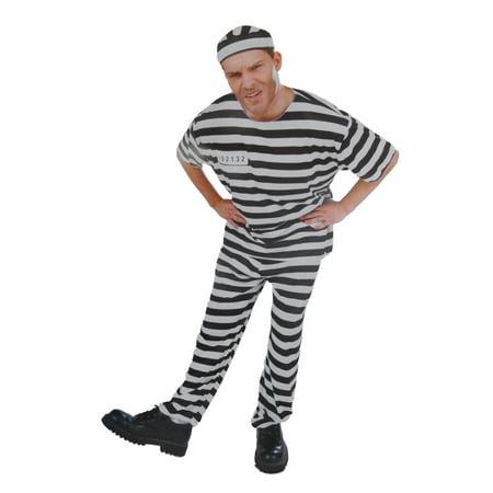 Mens In The Clink Convict Prisoner Halloween Costume Hat Top & Pants (Prisoners Costumes Halloween)