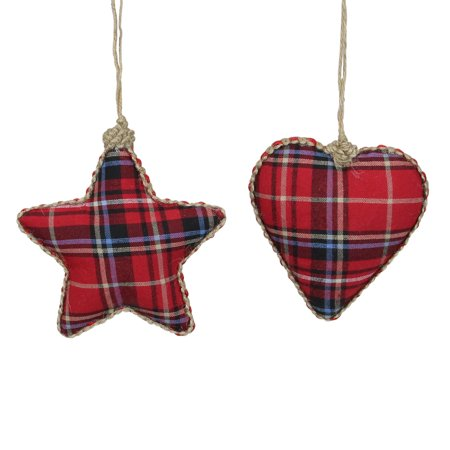 - Set of 2 Red And Green Plaid Heart And Star Shatterproof Christmas Ornaments 5