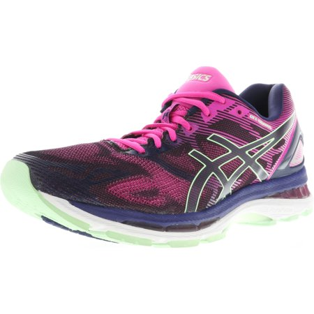 Women's Gel-Nimbus 19 Indigo Blue / Paradise Green Pink Glow Ankle-High Running Shoe -