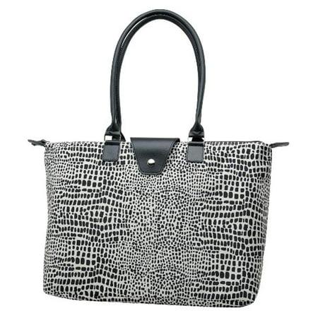Joann Marrie Designs NF3BDL Long Handle Fold-Up Bag - Black dot leopard, Pack of 2