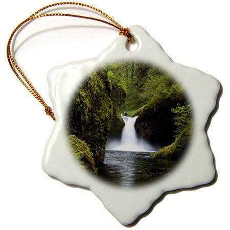 3dRose Punch Bowl Waterfall, Columbia River Gorge, Oregon, USA - US38 AWO0006 - Art Wolfe - Snowflake Ornament, 3-inch ()
