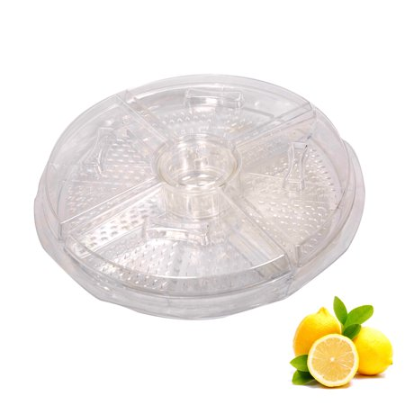 KARMASFAR PRODUCT Appetizers Server On-Ice Fruit Tray Salad Plate with Lids Plus Dip Cup, 8 Section](Server Tray)