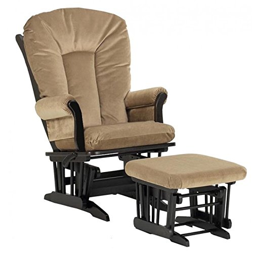 Dutailier Ultramotion Sleigh Design Wood Glider and Ottoman Combo Set Espresso (Tan Fabric)