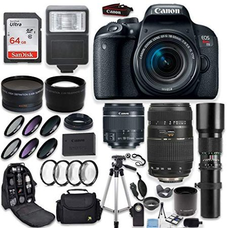 Canon EOS Rebel T7i DSLR Camera + Canon EF-S 18-55mm + Tamron 70-300mm & 1000mm Telephoto Lens (500mm w/ 2X Converter) + Wide Angle & Telephoto Lens + Macro Filter Kit + 64GB Memory + Accessory