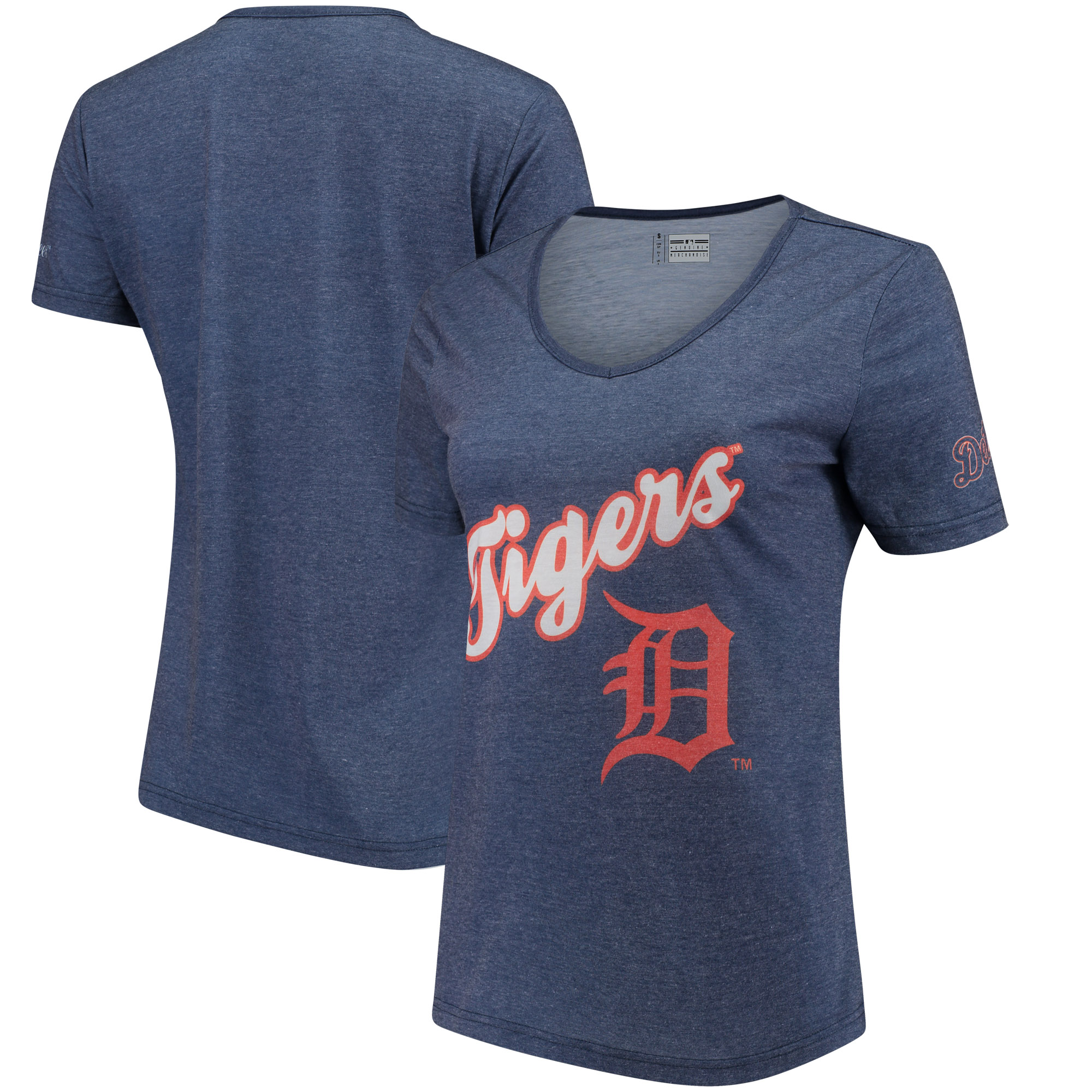 Detroit Tigers Women's Wordmark V-Neck T-Shirt - Navy