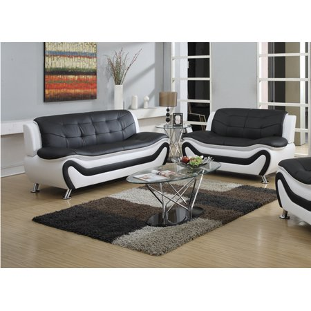 Frady 2 pc Black and White Faux Leather Moder Living Room Sofa and Loveseat set ()