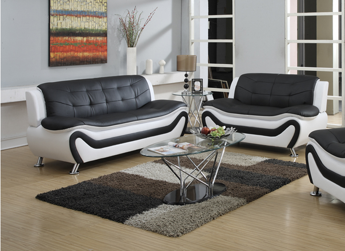 frady 2 pc black and white faux leather moder living room sofa and loveseat set