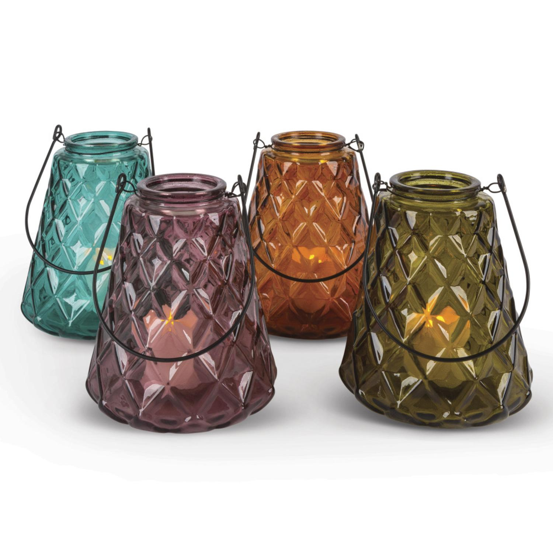 "Set of 4 Diamond Artisanal Ridges Glass Large Votive Holders 6.2"""