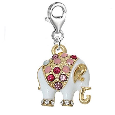 White Multi Elephant Charm Clip on Pendant for European Charm Jewelry w/ Lobster Clasp