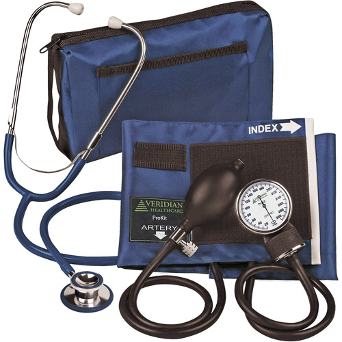 ProKit Aneroid Sphygmomanometer with Dual-Head Stethoscope, Adult, Navy Blue
