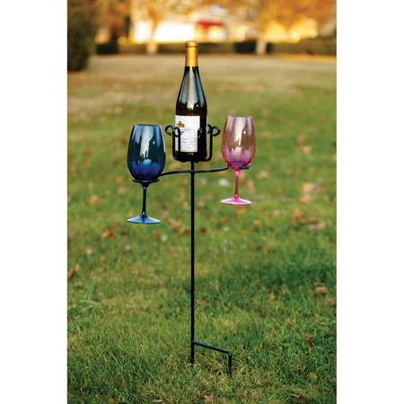 Picnic Plus Wrought Iron Wine Bottle and Glass Ground Stake ()