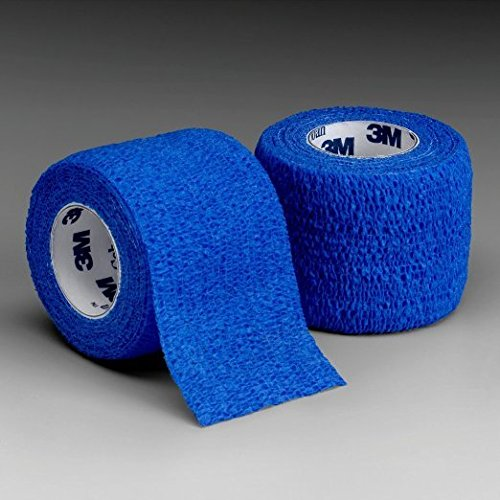Coban Non-Sterile Self-Adherent Wrap 1'' x 5 yds., Blue ''Pack of 5''
