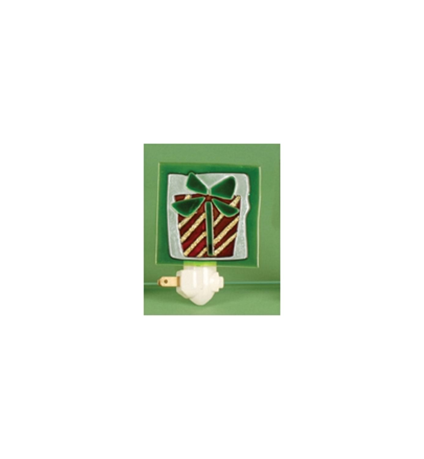 """3.5"""" Christmas Traditions Gold Striped Red and Green Holiday Present Night Light"""