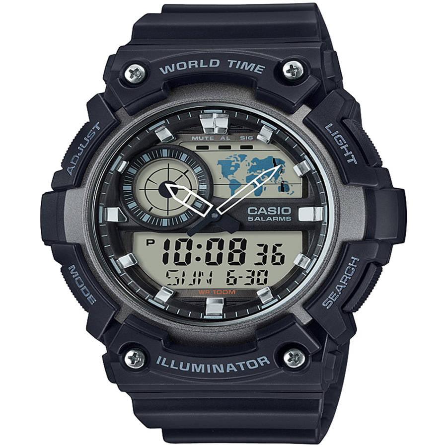 Men's Analog-Digital World Time Watch, Black