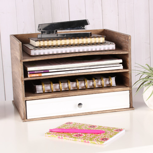 Kate and Laurel Industrious Desktop Wood Letter Tray with 3 Trays and Drawer