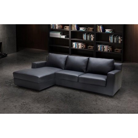 J&M Elizabeth Modern Premium Grey Leather Sectional Sleeper Sofa Left Hand  Chase
