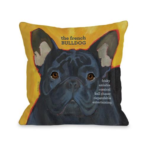 OneBellaCasa French Bulldog Throw Pillow by Overstock
